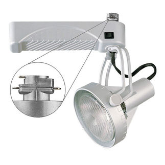Silver - Front Loading Gimbal Ring - Operates 70 Watt PAR38 Metal Halide - Compatible with Halo Track - Built-In Electronic Ballast - Nora Lighting NTM-6238/70S
