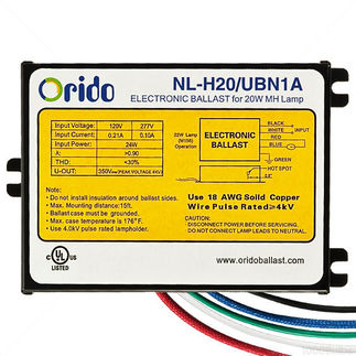 Orido NL-H20/UBN1A - 22 Watt - Metal Halide Ballast - Pulse Start  - 120/277 Volt - ANSI M156 - Power Factor 95% - Max Temp Rating 90 deg C.