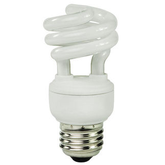 9 Watt - CFL - 40 W Equal - 4100K Cool White - Min. Start Temp. 0 Deg. F - 80 CRI - 58 Lumens per Watt - 15 Month Warranty - Global Consumer Products 060 CFL Spring Lamp