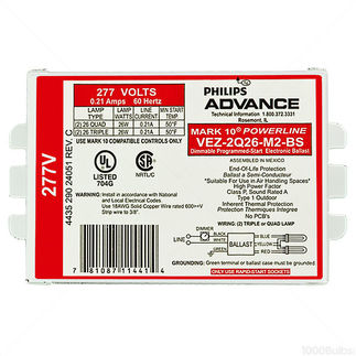 Advance Mark 10 Powerline VEZ-2Q26-M2-BS - (2) Lamp - 26 Watt CFL - 277 Volt - Dimming - 1.0 Ballast Factor