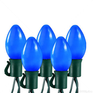 Sapphire Blue - 25 LED Bulbs - C7 Shape - Permanently Fixed Covers - Length 16.67 ft. - Bulb Spacing 8 in. - Green Wire - Christmas Light String - HLS 25311
