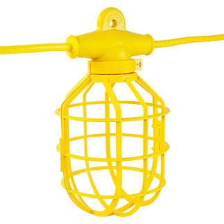 100 ft. String Light with 10 Lamp Holders and Guards - Molded Plug - 14/2 SJTW - Portable and Temporary Lighting - Construction Lighting