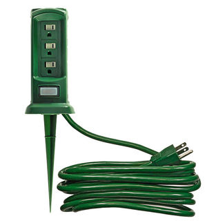 Outdoor Christmas Light Yard Power Stake - 12 ft. Cord - 3 Grounded Outlets