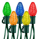 (25) Bulbs - LED - Multi-Color C7 Lights - Length 17 ft. - Bulb Spacing 8 in. - 120V - Green Wire