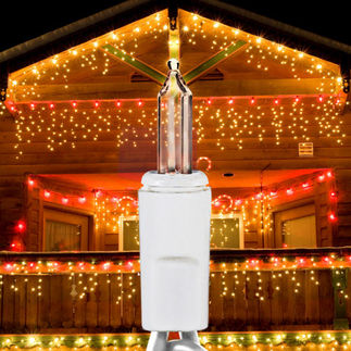 (300) Bulbs - Clear Icicle Lights - Length 9 ft. per String - Drop Spacing 4 in. - White Wire - 120V - 2 Pack
