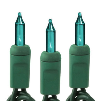 (100) Teal Bulbs | Mini Lights | Green Wire | 46 ft.