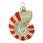 Striped Nautilus Shell Christmas Ornament - Shatterproof - 3.5 in. - Champagne - 4 Pack