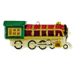 Train Engine Christmas Ornament - Shatterproof - 6.5 in. - Red, Gold and Green