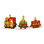 Train on Track Christmas Ornament - Shatterproof - 3 in. - Red, Green and Gold