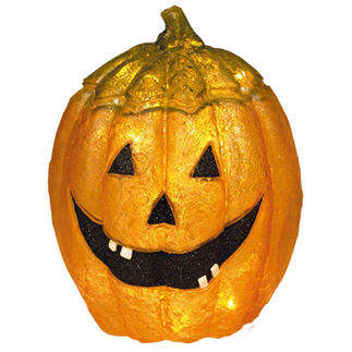 Illuminated - Halloween Pumpkin - 21 in. - Orange and Black - Fiberglass