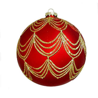 Draped Glitter Ball Christmas Ornament - Shatterproof - 4.7 in. - Red and Gold - 2 Pack