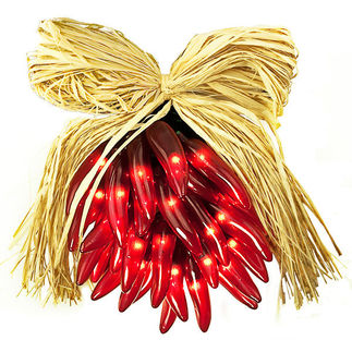 (35) Bulbs - Red Chili Pepper Ristra - Height 8 in. - Green Wire - 120V