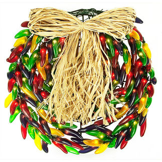 (150) Bulbs - Multi-Color Chili Pepper Wreath - 14 in. Diameter - Green Wire - 120V