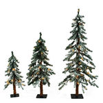 2 ft., 3 ft., 4 ft. Artificial Christmas Tree Set - Classic PVC Needles - Flocked Timberline Alpine - Pre-Lit with Clear Mini Lights - Barcana - 3 Pack