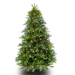 7.5 ft. Artificial Christmas Tree - Pre-Lit Slim Alaskan Deluxe Fir - Realistic PE/PVC Tips - Barcana