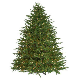 9 ft. Artificial Christmas Tree - Pre-Lit Belvedere Fir - Realistic PE/PVC Needles - Barcana