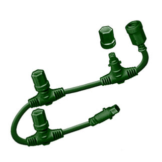 6 ft. Motherline Cord - For 24V Commercial LED System Strings - 3 Drop Connectors - Green - 3-Channel