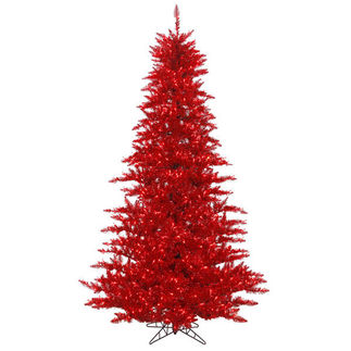 4.5 ft. x 34 in. - Red Tinsel Fir - Pre-Lit