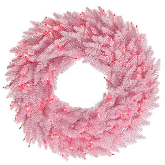24 in. Christmas Wreath - Classic PVC Needles - Pink Fir - Pre-Lit with Pink Mini Lights - Vickerman