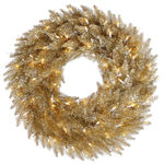 24 in. Christmas Wreath - Classic PVC Needles - Champagne Tinsel Fir - Pre-Lit with Clear Mini Lights - Vickerman