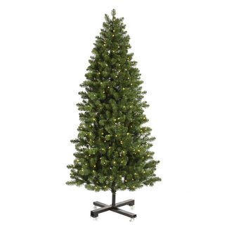 6.5 ft. Artificial Christmas Tree - Classic PVC Needles - Pre-Lit Slim Grand Teton Pine - Pre-Lit with 550 Clear Mini Lights - Vickerman