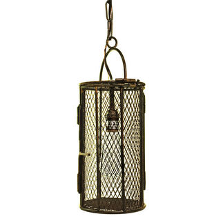 Vintage Industrial - Dye Basket Pendant - 1 Light - Blackened Patina - Height 16.25 in.