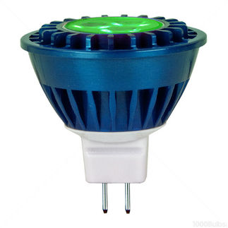 3.8 Watt - Dimmable LED - MR16 - Green - Wide Flood - 336 Candlepower - 20 Watt Equal - PLT MR16GRNWFL