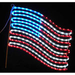 2 ft. - Red, White, Blue - LED Rope Light - Hanging US Flag - 120 Volt