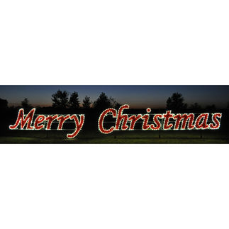 5.7 ft. x 42 ft. - Warm White - C7 LED - Merry Christmas Script Sign - 120 Volt