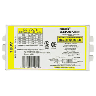 Advance Mark 10 Powerline REZ2T42M3LD35M - 120 Volt - Dimming - Programmed Start - Ballast Factor 1.0 - Power Factor 90% - Min. Temp. Rating 50 Deg. F - Operates (2) 42 Watt Compact Fluorescent Lamps