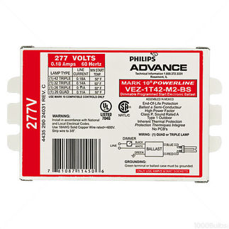 Advance Mark 10 Powerline VEZ1T42M2BS35M - 277 Volt - Dimming - Programmed Start - Ballast Factor 1.0 - Power Factor 90% - Min. Temp. Rating 50 Deg. F - Operates (1) 42 Watt Compact Fluorescent Lamp