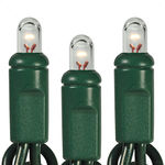 Clear - 120 Volt - 100 Bulbs - Length 50.66 ft. - Bulb Spacing 6 in. - 20 AWG - Green Wire - Round Tip Christmas Micro Rice Light String - HLS 6MAX100CLRG