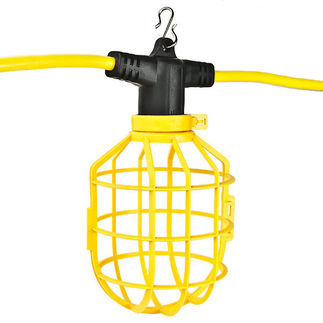 100 ft. String Light with 10 Lamp Holders and Guards - Molded Plug - 12/3 SJTW - Light Fixture - Portable Lighting - Construction Lighting - Emergency Safety Lighting