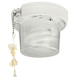 Compact Fluorescent Lampholder with Pull Chain Switch - 13W Bulb and Guard Included - White - Leviton 9862-PC