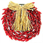 (150) Bulbs - Red Chili Pepper Wreath - 14 in. Diameter - Green Wire - 120V