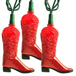 (10) Bulbs - Red Cowboy Boot Lights - Length 9.75 ft. - Bulb Spacing 12 in. - Green Wire - 120V