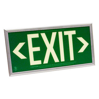 Photoluminescent Exit Sign - Self-Luminous - Green Background - 20 Year Effective Life - Includes Mounting Bracket and Silver Frame - Fulham FLPL50SGS