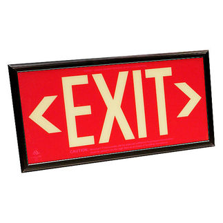 Photoluminescent Exit Sign - Self-Luminous - Red Background - 20 Year Effective Life - Includes Mounting Bracket and Black Frame - Fulham FLPL50SRB