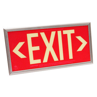 Photoluminescent Exit Sign - Self-Luminous - Red Background - 20 Year Effective Life - Includes Mounting Bracket and Silver Frame - Fulham FLPL50SRS