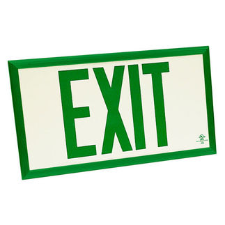 Photoluminescent Exit Sign - Self-Luminous - Green Letters - 20 Year Effective Life - Includes Mounting Bracket and Green Frame - Fulham FLPL75SGG