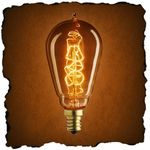 25 Watt - Vintage Antique Light Bulb - ST15 Nostalgic Style - Hand-Wound Spiral Tungsten Filament - Multiple Supports - Clear