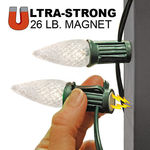 (25) Bulbs - LED - Warm White C9 Lights - Length 25 ft. - Bulb Spacing 12 in. - 120V - Green Wire - Magnetic Base Sockets