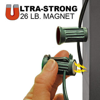 25 ft. (25) C7 Sockets with Magnetic Bases - Green Wire - 12 in. Bulb Spacing - Attaches to Steel Only - No Bulbs Included