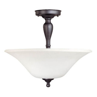 (3 CFL) Semi-Flush Ceiling Fixture - Dark Chocolate Bronze / Satin White Glass - Energy Star Qualified - Nuvo Lighting 60-1927
