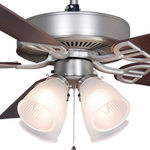 Fanimation BP210SN1 - 52 in. - Aire Decor Ceiling Fan - (5) 20.7 in. Reversible Cherry and Walnut Blades - Satin Nickel Finish - White Frosted Shade - Includes Light Kit